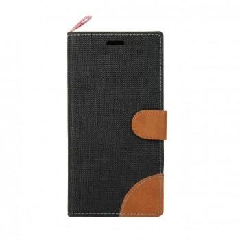 Чехол горизонтальная книжка подставка на силиконовой основе с отсеком для карт на магнитной защелке с тканевым покрытием для Sony Xperia X Performance