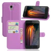 Чехол портмоне подставка на силиконовой основе на магнитной защелке для ZTE Blade A510 Фиолетовый