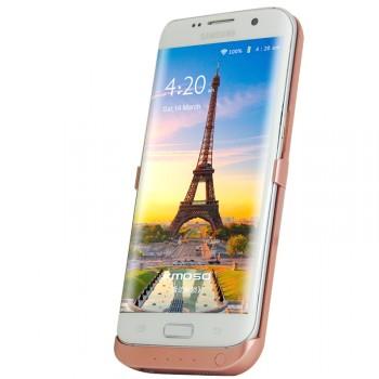 Пластиковый непрозрачный матовый чехол с встроенным аккумулятором 4000 мАч и подставкой для Samsung Galaxy S7 Edge