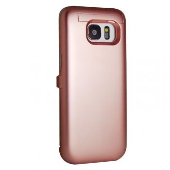 Пластиковый непрозрачный матовый чехол с встроенным аккумулятором 3100 мАч и подставкой для Samsung Galaxy S7