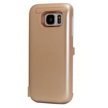 Пластиковый непрозрачный матовый чехол с встроенным аккумулятором 6000 мАч и подставкой для Samsung Galaxy S7