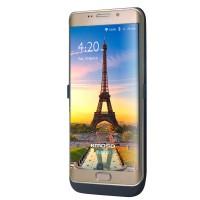 Пластиковый непрозрачный матовый чехол с встроенным аккумулятором 4800 мАч и подставкой для Samsung Galaxy S6 Edge Plus  Черный