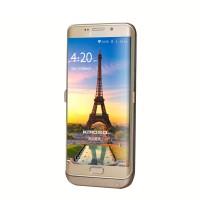 Пластиковый непрозрачный матовый чехол с встроенным аккумулятором 4800 мАч и подставкой для Samsung Galaxy S6 Edge Plus  Бежевый