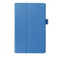Чехол книжка подставка с рамочной защитой экрана и крепежом для стилуса для Lenovo Tab 3 8  Голубой
