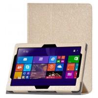 Сегментарный чехол книжка подставка с рамочной защитой экрана текстура Золото для Lenovo IdeaPad Miix 300  Бежевый