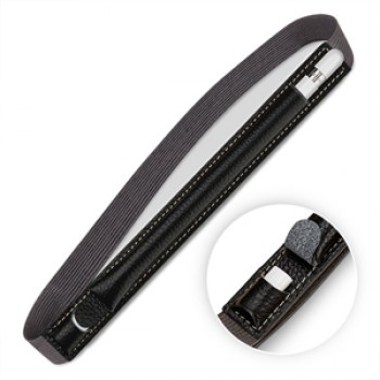 Кожаный мешок для Apple Pencil с клапаном закрытого типа на регулируемом резиновом поясе