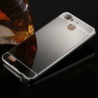 Двухкомпонентный чехол c металлическим бампером с поликарбонатной накладкой и зеркальным покрытием для Huawei GR3  Серый