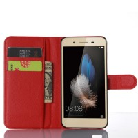 Чехол портмоне подставка на пластиковой основе на магнитной защелке для Huawei GR3 Красный