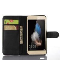 Чехол портмоне подставка на пластиковой основе на магнитной защелке для Huawei GR3 Черный