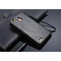 Винтажный чехол портмоне подставка на пластиковой основе на магнитной защелке для Huawei GR3  Черный