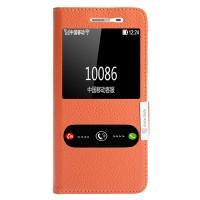 Кожаный чехол горизонтальная книжка подставка на силиконовой основе с окном вызова и полоcой свайпа на магнитной защелке для Huawei GR3  Оранжевый