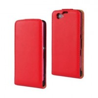 Чехол вертикальная книжка на пластиковой основе на магнитной защелке для Sony Xperia Z1 Compact  Красный