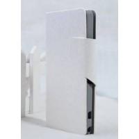 Чехол горизонтальная книжка подставка на пластиковой основе с отсеком для карт на магнитной защелке текстура Золото для Sony Xperia Z1 Compact Белый