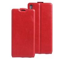 Чехол вертикальная книжка на силиконовой основе с отсеком для карт на магнитной защелке для Sony Xperia XA Ultra Красный