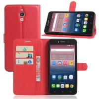Чехол портмоне подставка на силиконовой основе на магнитной защелке для Alcatel One Touch Pixi 4 (6)  Красный