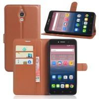Чехол портмоне подставка на силиконовой основе на магнитной защелке для Alcatel One Touch Pixi 4 (6)  Коричневый