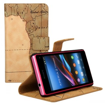Чехол портмоне подставка на пластиковой основе с полноповерхностным принтом на магнитной защелке для Sony Xperia Z1 Compact