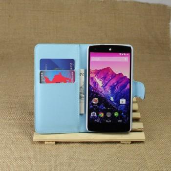 Чехол портмоне подставка на пластиковой основе на магнитной защелке для Google LG Nexus 5
