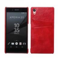 Чехол накладка текстурная отделка Кожа с отсеком для карт для Sony Xperia Z5 Красный