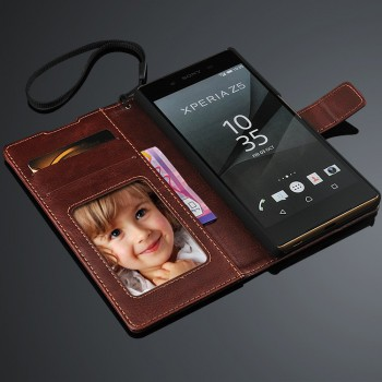Чехол портмоне подставка на пластиковой основе на магнитной защелке для Sony Xperia Z5