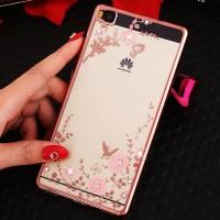 Силиконовый матовый полупрозрачный чехол с принтом и аппликацией стразами для Huawei P8 Lite  Розовый