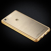 Силиконовый матовый полупрозрачный чехол с текстурным покрытием Металлик для Huawei P8 Lite Бежевый