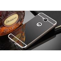 Двухкомпонентный чехол c металлическим бампером с поликарбонатной накладкой и зеркальным покрытием для Huawei Honor 4C Pro  Черный
