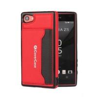 Силиконовый чехол накладка текстурная отделка Кожа с отсеком для карт и функцией подставки для Sony Xperia Z5 Compact  Красный