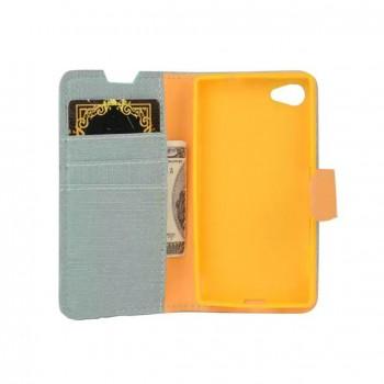 Чехол портмоне подставка на силиконовой основе на магнитной защелке с тканевым покрытием для Sony Xperia Z5 Compact