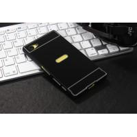 Двухкомпонентный чехол c металлическим бампером с поликарбонатной накладкой и отверстием для логотипа для Sony Xperia Z5 Compact  Черный