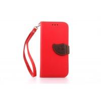 Чехол портмоне подставка на силиконовой основе на дизайнерской магнитной защелке для HTC One (M8) Красный
