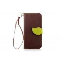 Чехол портмоне подставка на силиконовой основе на дизайнерской магнитной защелке для HTC One (M8) Коричневый