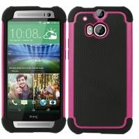 Силиконовый матовый непрозрачный дизайнерский фигурный чехол для HTC One (M8) Розовый