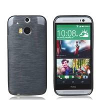 Силиконовый глянцевый непрозрачный Металлик чехол для HTC One (M8)  Черный