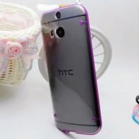 Силиконовый матовый полупрозрачный чехол для HTC One (M8)  Фиолетовый