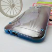 Силиконовый матовый полупрозрачный чехол для HTC One (M8)  Синий