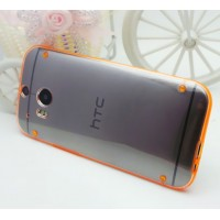 Силиконовый матовый полупрозрачный чехол для HTC One (M8)  Оранжевый