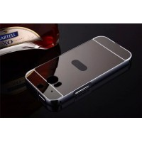 Двухкомпонентный чехол c металлическим бампером с поликарбонатной накладкой и зеркальным покрытием для HTC One (M8)  Черный