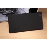 Пластиковый непрозрачный матовый нескользящий премиум чехол для Sony Xperia M5  Черный
