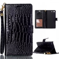 Чехол портмоне подставка текстура Крокодил на пластиковой основе на магнитной защелке для Sony Xperia M5  Черный