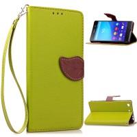 Чехол портмоне подставка на силиконовой основе на дизайнерской магнитной защелке для Sony Xperia M5  Зеленый
