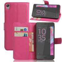 Чехол портмоне подставка на силиконовой основе на магнитной защелке для Sony Xperia E5  Пурпурный
