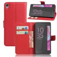 Чехол портмоне подставка на силиконовой основе на магнитной защелке для Sony Xperia E5 Красный