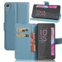 Чехол портмоне подставка на силиконовой основе на магнитной защелке для Sony Xperia E5 Голубой