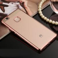 Силиконовый матовый полупрозрачный чехол с текстурным покрытием Металлик для Huawei P9 Lite  Розовый