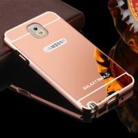 Двухкомпонентный чехол c металлическим бампером с поликарбонатной накладкой и зеркальным покрытием для Samsung Galaxy Note 3 Розовый