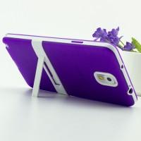 Двухкомпонентный силиконовый матовый полупрозрачный чехол с поликарбонатными бампером и крышкой и встроенной ножкой-подставкой для Samsung Galaxy Note 3  Фиолетовый