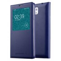 Чехол смарт флип на пластиковой основе с окном вызова для Samsung Galaxy Note 3  Синий