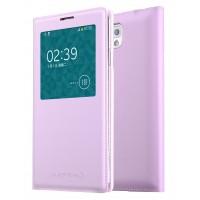 Чехол смарт флип на пластиковой основе с окном вызова для Samsung Galaxy Note 3  Розовый