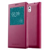 Чехол смарт флип на пластиковой основе с окном вызова для Samsung Galaxy Note 3  Красный
